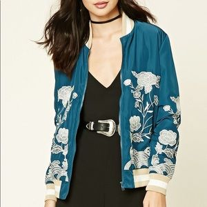 Forever 21 | Floral Embroidered Bomber Jacket